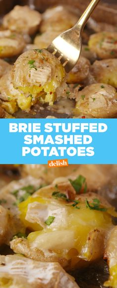 It's official: Brie Smashed Potatoes are the new tater tots. Get the recipe at Delish.com. #sides #app #appetizer #potato #brie #cheese #smashedpotato #recipes #easyrecipes