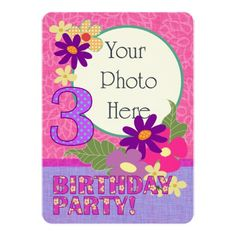 Three Year Old Birthday Party Photocard Invitation