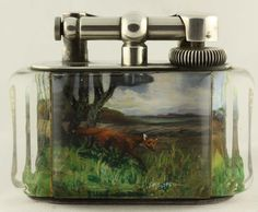 Superb Dunhill Hunting scenes Aquarium lighter c.a 50's One at a type - Call Danilo 0039 335 6815268