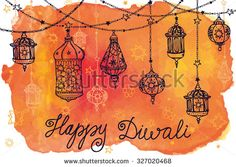 Happy Diwali festival.Traditional hanging lamp.Doodle,Watercolor splash.Vector background.Greeting card.Hand drawing decor.Indian religion holiday Holy diya Shubh Deepawali.Horizontal Illustration