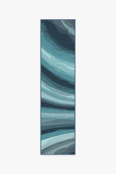 Watercolor Waves Blue Rug | Washable Rug | Ruggable Washable Area Rugs, Machine Washable Rugs, Teal Rug, Grey Rugs, Watercolor Wave, Black Rug, Capri Blue, Natural Rug, Organizer