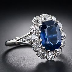 3.27 Carat Vintage Sapphire and Diamond Ring - 30-1-4881 - Lang Antiques  $7750