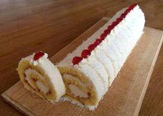 Kokosová roláda, recept, Zákusky | Tortyodmamy.sk Czech Desserts, Cupcake Cakes, Cupcakes, Kolaci I Torte, Desert Recipes, Food Hacks, Vanilla Cake, Baked Goods, Ham