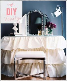 DIY Vanity - love the table top 3 part mirror