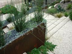 gravel walk, corten steel planter