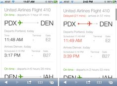 Google Flight Search Results - On mobile, Google flight status results include an airplane placed on a line at a point relative to its flight progress. Color communicates whether the flight is on time or not.