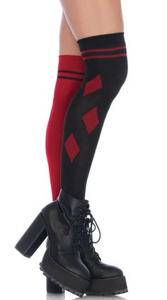 e68d868ebbc21 Get a little mischievous in these black and red thigh high stockings  featuring a striped top