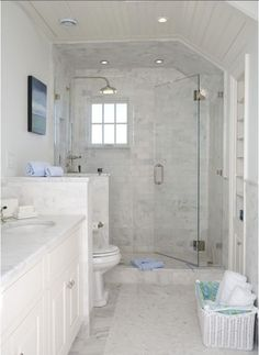 Bathroom layout possibility-Long narrow bathroom with shower stall, toilet pony wall, double vanity - add narrow storage in toilet side of pony wall for extra tp, etc. Long Narrow Bathroom, Small White Bathrooms, White Bathroom Decor, Bathroom Design Small, Bathroom Layout, Bathroom Ideas, Bathroom Designs, Master Bathrooms, Bathroom Interior