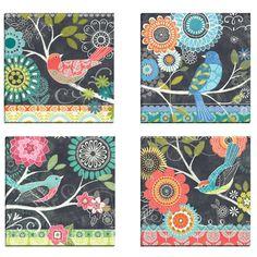 Chalk Bird Blue by Jennifer Brinley 4 Piece Graphic Art on Wrapped Canvas Set