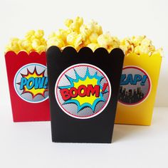 Boy Superhero Mini Popcorn Snack Boxes