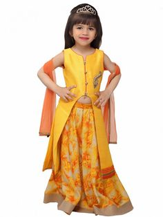 Shop Exclusive printed yellow raw silk party lehenga choli online from India. Frocks For Girls, Kids Frocks, Girls Dresses, Choli Designs, Blouse Designs, Kids Lehenga Choli, Tandoori Masala, Kids Gown, Teen Fashion