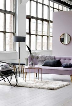 Incorporate a soft, subtle tone of purple into your design scheme to create the perfect canvas for a relaxing, tranquil living environment. #FieldNotes #Lilac #Styling #InteriorDesign #Living #Inspiration