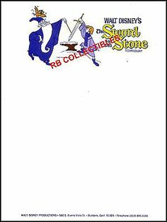 The Sword In The Stone  Vintage Disney Company Letterhead Sheet