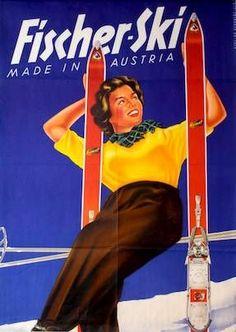 vintage ski poster. 1954 #skiingequipment