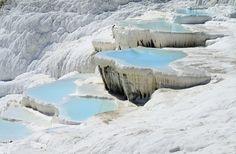 Pamukkale hot springs in the Denizli Province in Turkey