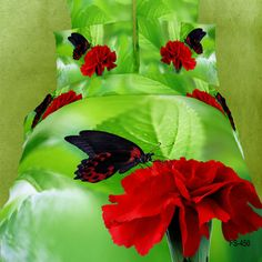 Butterfly with a Dashing Red Carnation Bed Set
