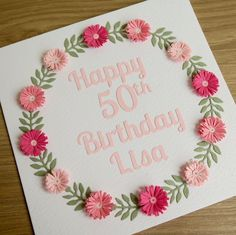 Paper quilling birthday card, 21st, 30th, 40th, 50th, 60th, 70th, 80th, 90th, 100th