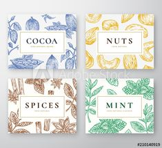 Hand Drawn Cocoa Beans, Mint, Nuts and Spices Cards Set. Abstract Vector Sketch Backgrounds Collection with Classy Retro Typography. Hand Drawn Cacao, Nuts, Mint Branches and Spices. Spices Packaging, Honey Packaging, Chocolate Packaging, Tea Packaging, Web Design, Label Design, Branding Design, Cocoa, Retro Typography