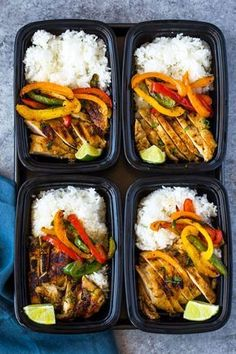 Meal-prep chicken marinated in a spicy garlic, chili, cilantro, lime marinade, served with rice and colorful bell peppers. This tasty flavor-packed meal is quick and easy makes a great lunch all we… healthy food Chili Lime Chicken and Rice Meal Prep Bowls