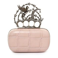 Alexander McQueen Flying-unicorn sequin-embellished knuckle clutch (85,250 MXN) ❤ liked on Polyvore featuring bags, handbags, clutches, black multi, alexander mcqueen clutches, genuine leather purse, alexander mcqueen handbags, leather handbags and crocodile leather handbags