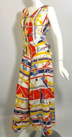 1930s beach pyjamas in a fantastic deco meets nautical print cotton