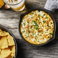 Mexican street corn dip // Creamy melted cheese brings sweet corn and spicy jalapeño together with a nice pop of brightness from lime juice and cilantro. Mexican Corn Dip, Mexican Street Corn, Corn Dip Recipes, Mexican Food Recipes, Mexican Desserts, Milk Recipes, Mexican Dishes, Yummy Recipes, Appetizer Dips
