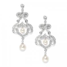 Best Selling Bridal CZ Chandelier Earrings with Ivory Pearls
