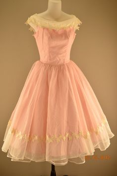 1950s pretty little pink party dress size xsmall by melsvanity, $148.00
