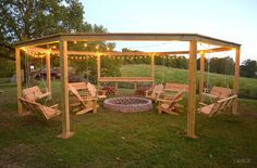 DIY Pergola and Fire Pit with Swings #DIY #furniture #outdoor