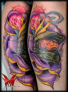 Halo Master Chief Tattoo, as seen on Benjamin