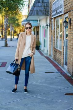 How about we start the weekend with a little sporty chic outfit inspo? I'm kind of obsessed with a low profile sneaker paired with an equally casual outfit. The menswear inspired topcoat and sleek han