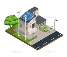 Isometric Green Eco House by macrovector Modern green eco house with garage lawn solar panels producing electricity on roof and two wind turbines isometric vector illustra