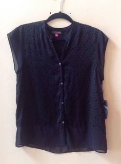 NWT VINCE CAMUTO WOMEN'S SOLID BLACK POLYESTER CAP SLEEVE BLOUSE SIZE S-$99 #Vince #Blouse