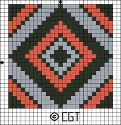 Free Tile Twelve Counted Cross Stitch Pattern - Printable Cross Stitch Chart: Free Three Color Tile Twelve Counted Cross Stitch Pattern - Free Printable Chart