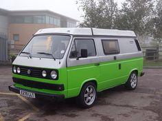 Lovely 2 tone green and grey Vw Bus T3, Vw Volkswagen, Vw T1, Van Design, Van Camping, Transporter, Vw Camper, Campervan, Green And Grey