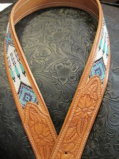 So excited this morning to share some of the Amazing Ms Nancy Martiny handy work with you! For years I have wanted a beau. Cowgirl Belts, Western Belts, Cowgirl Style, Beaded Belts, Beaded Jewelry, Beaded Bracelets, Leather Belts, Leather Tooling, Tooled Leather