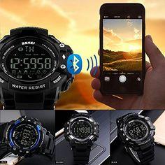 YOUNGFLY Sport Smart Watch Bluetooth Watch 50M waterproof Shockproof Remote Camera Night Backlit activities tracker, precisely record Sport Bracelet Smartwatch Black