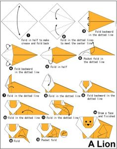 Let's try ! Simple steps to make origami lion. #kidscrafts #DIY #HowTo #origami #origamianimals