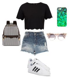 """""""Beach day"""" by heyitskels ❤ liked on Polyvore featuring Ted Baker, River Island, adidas, Casetify, Henri Bendel and Jimmy Choo"""