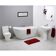 RAK Series 600 Modern Slipper Freestanding Bath Suite 595 for bath and loo smaller bath, shiny finish