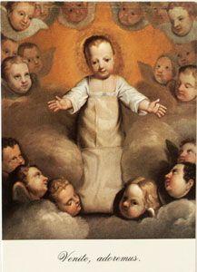 TABLEAU DE L'ENFANT JESUS au Carmel de Bordeaux. Tableau du 17 ème siècle. Fidèle représentation Bérullienne de l'Enfant Jésus