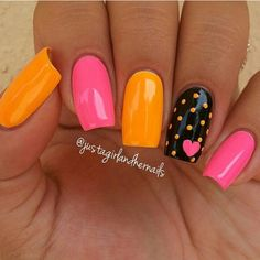 Beautiful nail art designs that are just too cute to resist. It's time to try out something new with your nail art. Orange Nail Designs, Nail Art Designs, Nails Design, Pedicure Designs, Pedicure Ideas, Get Nails, Love Nails, Nails Polish, Super Nails