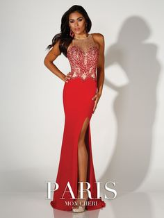 Paris - 116777 - Sleeveless jersey fit and flare gown with high jewel neck, hand-beaded illusion sweetheart bodice with nude lining, beaded illusion back with keyhole, side slit, sweep train.Sizes: 0 - 16Colors: Red, Royal Blue