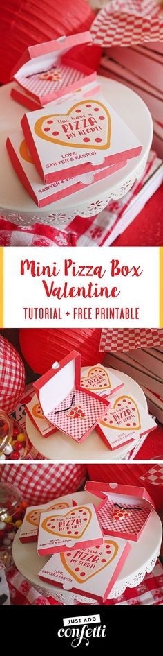 Mini Pizza Box Valentine, classroom valentine, free printable, Just Add Confetti printable, free valentine printable, tutorial, Valentine's Day pizza party, valentines day, you have a pizza my heart, partnership, oriental trading, free printable, pizza va