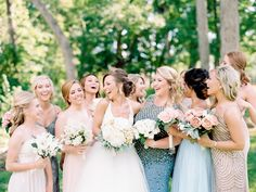 Bride and Bridesmaids Bridal Party Photo | Ideas Wedding Party Group Photos | Courtney and Brennan's Whitmoor Country Club Summer Wedding | St. Louis Wedding Photographer — Erin Stubblefield Weddings and Portraiture