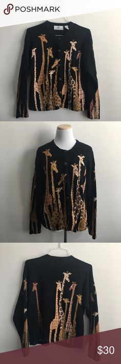 Adorable Vintage Giraffe Sweater Cardigan Vintage black knit cardigan with giraffes on front, back and sleeves. Brand is Design Options by Philip & Jane Gordon. 55% Ramie, 45% Cotton. Hand wash. Perfect condition. Size large Sweaters Cardigans