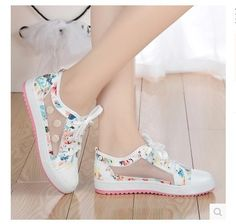 2015Summer New!! Spring &Autumn Small flower Fresh Canvas Shoes Female Casual Platform Women's Shoes Gauze Dot Sweet Sandal
