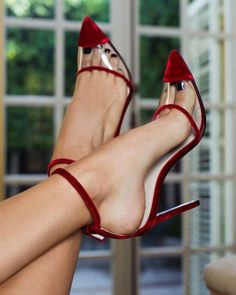Wine Red Velvet Clear PVC Ankle Strap Heels Pumps for Work, Formal event, Ball Hot High Heels, Sexy Heels, Pumps Heels, Stiletto Heels, Stilettos, Lace Up Heels, Ankle Strap Heels, Daily Shoes, Hot Shoes