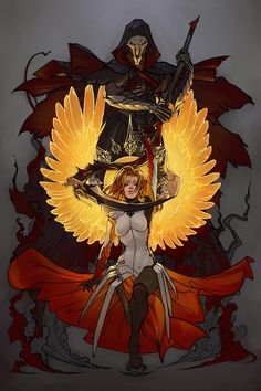 The Rise and Fall of Heroes by Newsha-Ghasemi.deviantart.com on @DeviantArt - More at https://pinterest.com/supergirlsart #mercy #reaper #fanart #overwatch