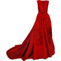 Elie Saab - satinee.polyvore.com ❤ liked on Polyvore featuring dresses, gowns, long dresses, vestidos, long red evening dress, red gown, red evening gowns and red evening dresses